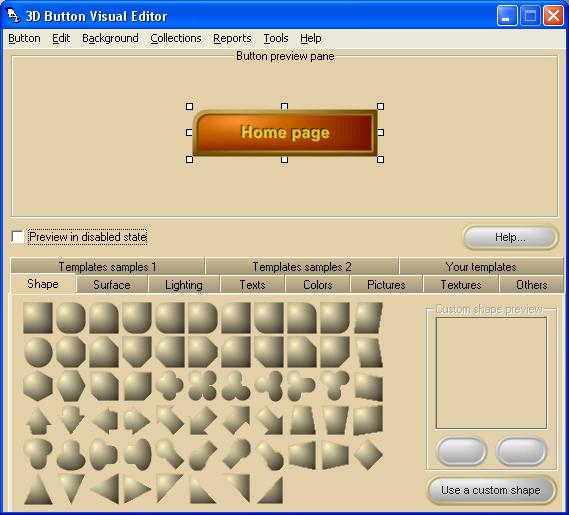 3D Button Visual Editor Screen shot